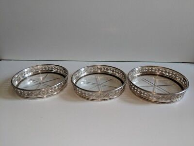 3 Birks Sterling Silver & Cut Glass Coasters
