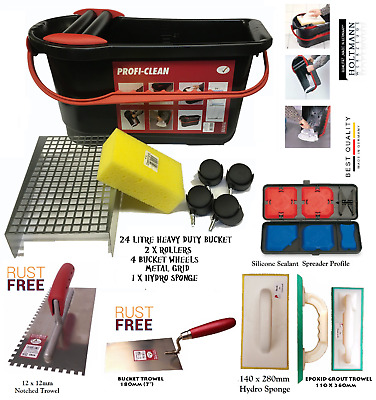 Washboy Set Tiling Tiler Tool with 2 Rollers and Sponge Clean Remove Tiles Grout