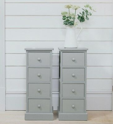 Pair of Tall Wooden Bedside Cabinets Drawers Grey Table Units Tallboy Bedroom Ba