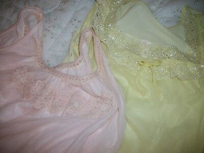 Vtg Sissy Chiffon Nightgowns 2 Aristocrat 50's 60's Pink Pale Yellow As Is M/L