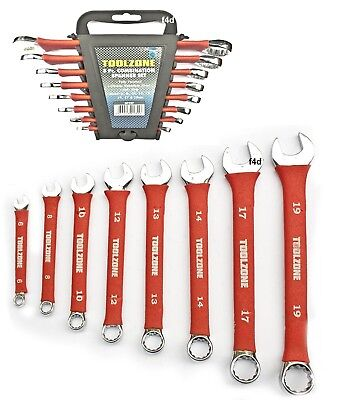 Heavy duty 8pc Soft grip Chrome Vanadium Combination Spanner Wrench Set SP127
