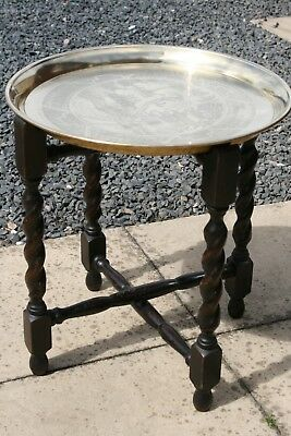 Indian Brass Topped Small Fold-Able Side Table