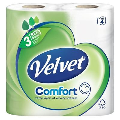 Velvet Triple Layer White Toilet Tissue - 200 Sheets per Roll (4) - Pack of 2