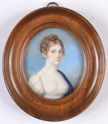 """Aristocratic woman in white Empire gown"", high quality German miniature 1810/15"