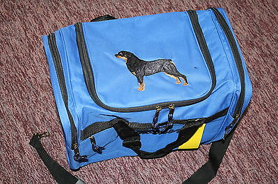 Rottweiler Dog Embroidered On a Royal Blue Duffle Bag