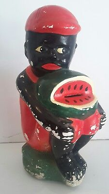 Large Vintage Black Americana Chalkware Coin Bank Boy with Watermelon 12