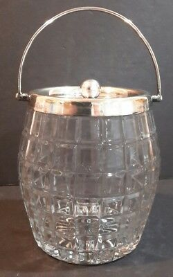 Antique Crystal Glass Biscuit Barrell Cookie Jar Silverplated Lid and Handle