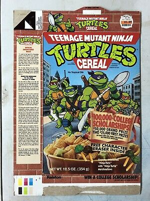 Vintage ©1990s Teenage Mutant Ninja Turtles cereal box TMNT