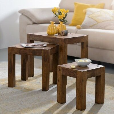 FineBuy Sheesham 3-piece set Coffee Living Room Side table Solid hardwood new