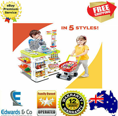 Kids Pretend Play Shop Supermarket W/ Shopping Trolley Toy Store Groceries