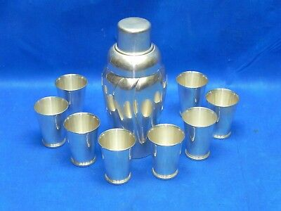 Vintage 1930's WMF Cocktail Shaker Art Deco Silver Plated with Goblets