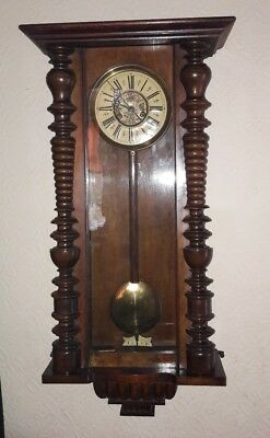 Walnut Cased Vienna Wall Clock with Gilt and Enamelled Dial