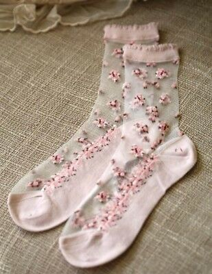 Victorian Trading Co Rosy Posy Ankle Trouser Socks Pink Floral Sheer NIB