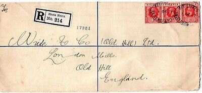 1927 Nigeria registered postal cover to England
