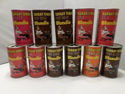 Rare 1969 Lot 11 Diff Sunday Funnies Blondie Vintage Comic Strip  Soda Pop Can