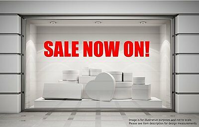 Sale Now On, Shop Sign, Decal, 3 Pack (2 Large for window, 1 Smaller for Door)
