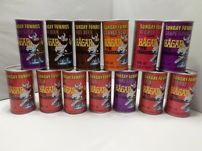 Rare 1969 Lot 13 Sunday Funnies Hagar the Horrible Vtg Comic Strip Soda Pop Can