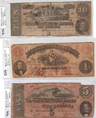 Confederate Currency Lot 3 Notes $1 $5 $10 3 Notes 1862 1864 1864