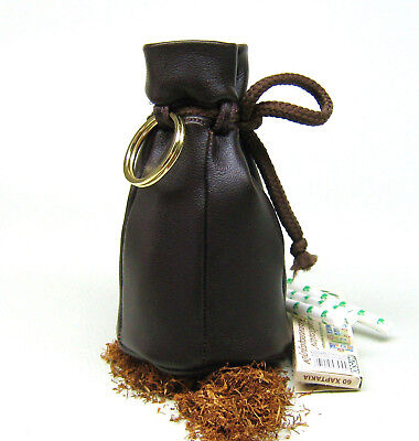 Country Old Style Genuine Nappa Real Leather tobacco pouch drawstring case Brown