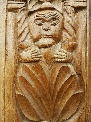 Late 15thC / Early 16thC English Antique Carved Oak Panel of a Comical Figure