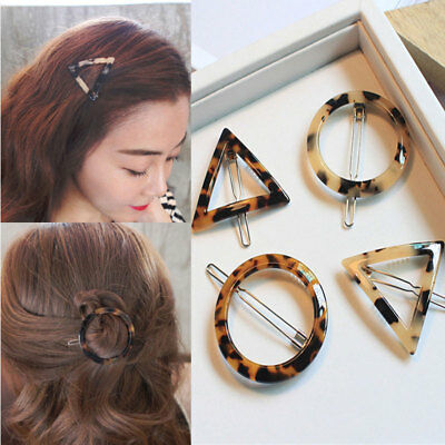 2017 Cute Women Leopard Geometric Triangle Round Hairpin Clip Hair Accessories