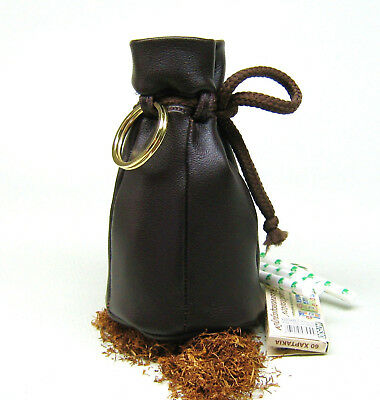 Old style Genuine Nappa Real Leather tobacco pouch Drawstring case new -Brown