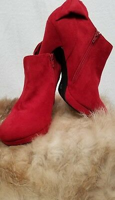 1509197129 IMPO SCARLET RED Suede Sahara Heels Pumps Shoes Size 9 1/2 Medium ...