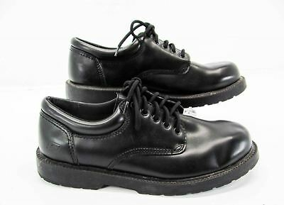 304d916434f6 SKECHERS SLIP RESISTANT Men Black Leather Dress Safety Work Oxford Shoe 12M  AG