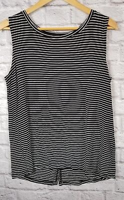 2a77c56b5633b9 NWT Old Navy Womens Large Rayon Black White Striped Open Back Tank Top Shirt