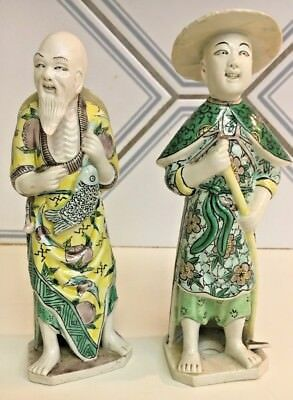 Antique Fantastic PR Chinese hand Painted relief Fisherman Farmer statue figures