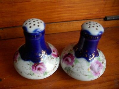 Antique Nippon  Salt & Pepper Shakers  Cobalt Blue  ,hand Painted Rose Flower