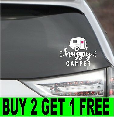 Happy Camper Car Vinyl Decal  Camp Fire Sticker Outdoors Tent Camping A
