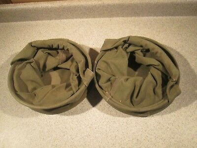Vtg U.s. Us Military Army Wwii World War 2 Pair Canvas Water Bags Tools Superb!