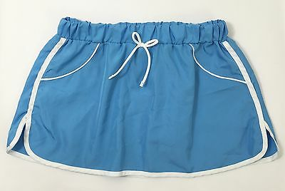 Girls Youth Size 7/8 Nylon Sport Skirt Or Swim Cover-Up Blue with White Trim