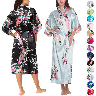 Women Long Floral Cosy Robe Gown Bridal Wedding Bride Bridesmaid Kimono Dressing