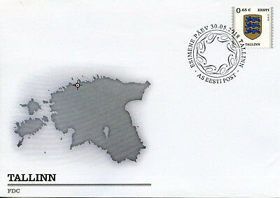 Estonia 2018 FDC Tallinn Coat of Arms Definitives 1v S/A Cover Emblems Stamps
