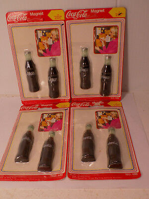 Vintage Coca Cola Bottle Magnets 2 on a Card 4 Cards New Old Stock