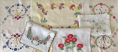 Vintage Lot Of Hand Embroidered Cloths