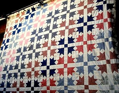 Vintage 20's 30's Goose Tracks Quilt top hand stitched Duck Paddle