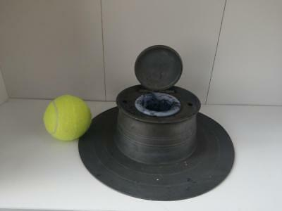 Pewter large inkwell Late 19th century with original liner