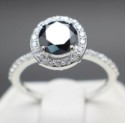 1.18cts 6.69mm Real Natural Black Diamond Halo Ring, Certified AAA & $990 Value