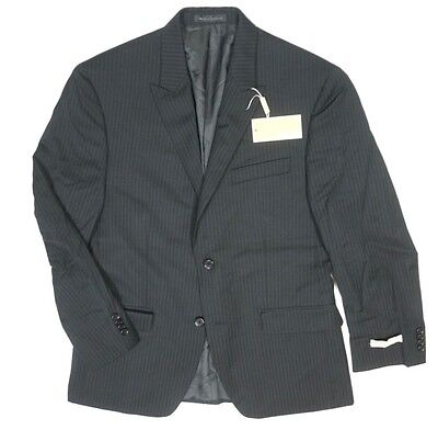 New Michael By Michael Kors Black Pinstriped Knta2 100% Wool 2 Btn Blazer Sz 38S