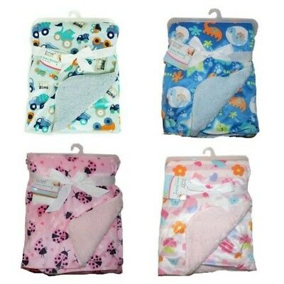 First Steps Mink Sherpa Reversible Baby Blanket 70x100 cm FS543 baby shower Gift
