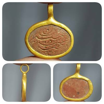Islamic Antique Writing Carved Stone Made into gold plated pendant   # 1H
