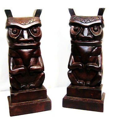 """Pair of  13 1/4"""" x 5 1/2"""" Wood Carved Chinease Gaurdian Lions / Foo Dogs"""