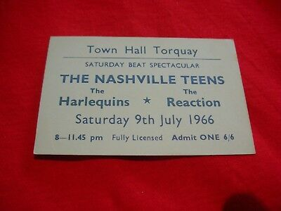 Vintage 60s gig ticket NASHVILLE TEENS / THE REACTION Roger Taylor QUEEN