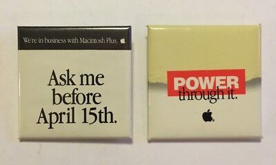 Two Vintage Apple Macintosh Mac Pinback Buttons Ask Me.. And Power Through It