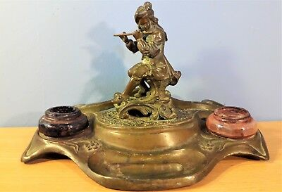 Antique French Art Nouveau Bronze / Brass InkWell, Signed N. Vidal