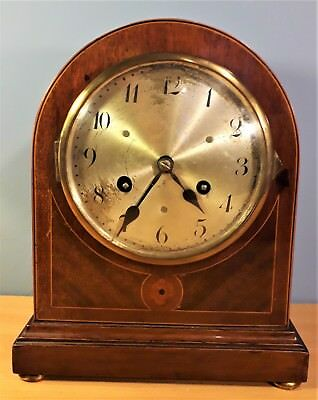 Edwardian inlaid Mantle clock by Junghans Wurttemberg, Working Order