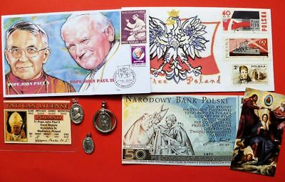 Lot of 8 Poland Pope John Paul II Medals First Day Covers Fantasy Bank Notes